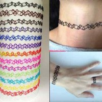 Buy Home Vintage Stretch Tattoo Choker Necklace Retro Henna Elastic 80s 90s