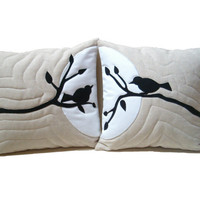 Bird in Tree Linen Pillows Appliqued Nature Throw Pillowcases Wedding HET