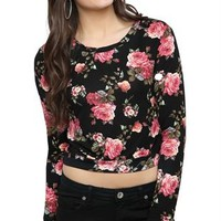 long sleeve rayon span allover floral print crop