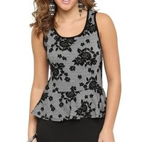 Peplum Dress with Lace Jacquard Bodice