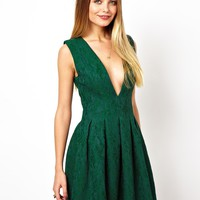 ASOS Deep V Structured Lace Skater Dress