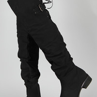 Olympia-01 Leatherette Slouchy Lace Back Thigh High Boot