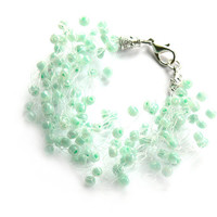Mint Green Bracelet. Multistrand Bracelet. Wedding Bracelet. Beadwork