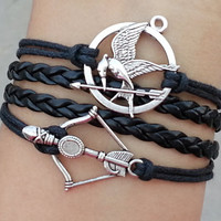 Hunger games letty retro inspired Mockingjay bird bracelet,Disney Brave Inspired Merida Bow Bracelet,Katniss's arrow-Best Chosen Gift