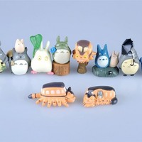 Totoro 10 Piece Figure Set Including Chu Totoro, Chibi, and Catbus