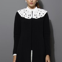 Beads Embellishment Cut Out Collar Dress Coat