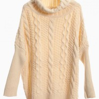 Beige Oversized Turtleneck Cable Knit Sweater