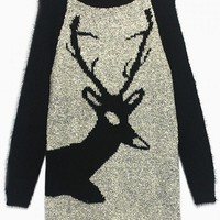 Gray & Black Deer Print Knit Sweater