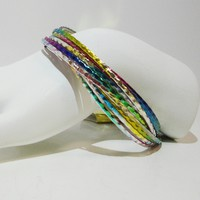 Set of 12 - Tie Dye Rainbow Bangles