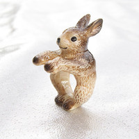 Brown Rabbit Ring Hand Painted Porcelain by And Mary