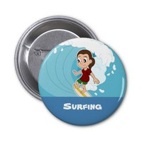 Surfing girl cartoon button