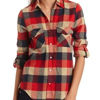PLAID FLANNEL HI-LO BUTTON DOWN SHIRT