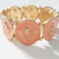 Fleur de lis soft gold medallion bracelet pale light pink enamel - stretch adjustable stacking cute lovely fashion designer winter fall 2013