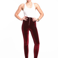 VELVET ZIP LEGGINGS