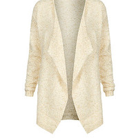Cream Metallic Boyfriend Cardigan