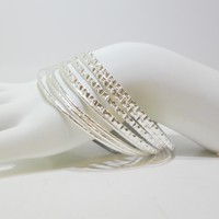 Set of 8 - Textured Bangle Bracelet