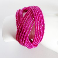 Twisted Cuff Bracelet/Beaded Bangle