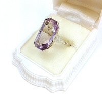 Antique Art Deco 14KT White Gold Natural Cut 8 Carat Amethyst Ring