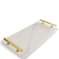 High Street Market - Modern Carrara Marble Serving Tray, Brass
