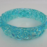 Vintage Teal Molded Plastic Rose Flower Bangle Bracelet
