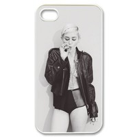 "DiyPhoneCover-Custom The Charming ""Miley Cyrus"" Printed Hard Protective White Case Cover for Apple iPhone 4,4s-DPC-2013-11744"