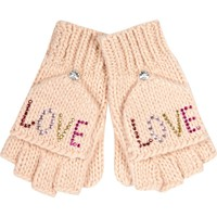 GIRLS PINK LOVE EMBELLISHED MITTEN GLOVES