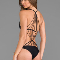 Mikoh Swimwear Criss Cross String Back One Piece in Night