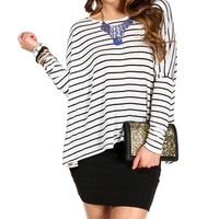 Ivory/Black Oversized Top
