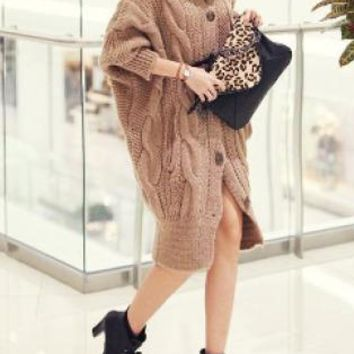 Khaki Cable Knit Wide Collar Long Sweater
