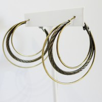 Antique Finish Hoop Earrings