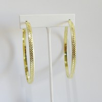 Gold Hoop Textured Earrings
