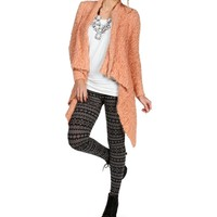 Peach Textured Open Front Sweater