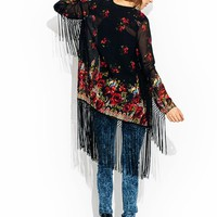 Rose-To-The-Top-Fringe-Kimono BLACKRED - GoJane.com