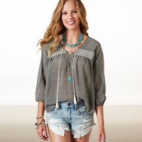 AE CHEVRON SMOCKED CHIFFON PEASANT TOP