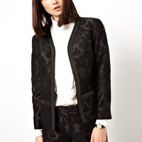 ASOS Blazer in Jacquard with Embellished Lapel