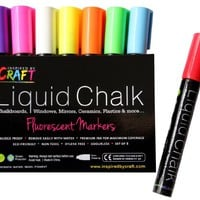 LIQUID CHALK Markers - Chalk ink paint pens 8pck 6mm chisel tip. Perfect for slate Chalkboard, Blackboard, Windows, Signs, Whiteboards, Scrapbooking