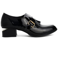 Fringe Decor Notched Heel Loafers