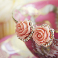 Rose Bud Stud Earrings in Pink
