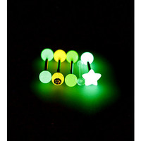 Morbid Metals 14G Pink Yellow Clear Star Glow-In-The-Dark Barbells 5 Pack