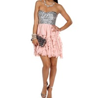 Clare-SilverPale Blush Homecoming Dress