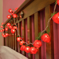 Red Rose Flower String Lights For Bedroom and Wedding Decoration 35 Lights / Set