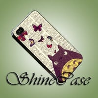 Vintage TOTORO Pattern - iPhone 4/4s/5c/5s/5 Case - Samsung Galaxy S3/S4 Case - Black or White