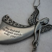 May God watch over you Flying ANGEL CAR MIRROR CHARM JEWELRY REARVIEW ORNAMENT
