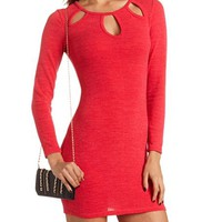 CUT-OUT BODY-CON SWEATER DRESS
