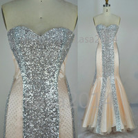 Sequin Prom Dresses, 2014 Prom Gown, Mermaid Strapless Champage Tulle / Sequin Prom Dresses, Champagne Evening Dresses, Sequin Formal Gown