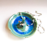 Green, Turquoise & Blue Ceramic Ring Holder -- handmade jewelry dish