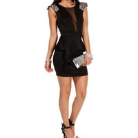 Black Embellished Peplum Dress
