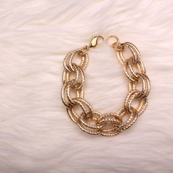 Double Link Gold Chain Bracelet