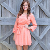 Sweet Spot Coral Polkadot Bow Back Tie Dress