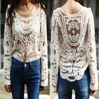 DAYISS® Sexy Semi Sheer Sleeve Embroidery Floral Lace Crochet Tee T-Shirt Top T shirt (Beige)